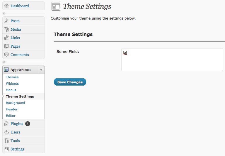 wordpress theme settings page